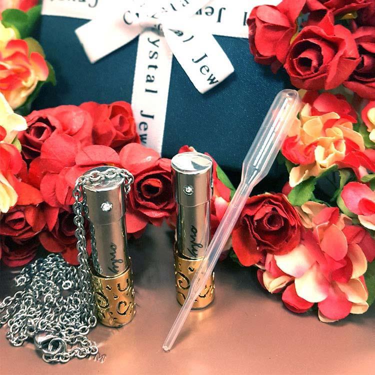 鈦鋼花形鏤空精油瓶項鍊 附贈精油滴管