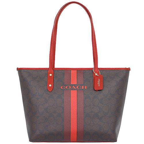【任選】COACH雙色條紋肩背托特包-咖啡紅(現貨+預購)