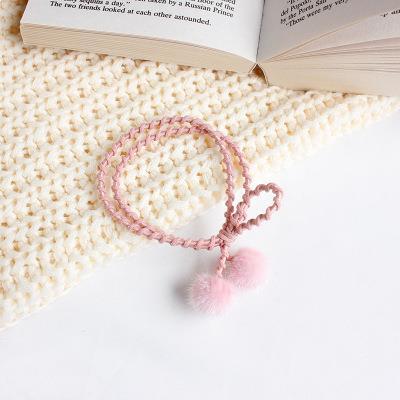 甜美小絨球手繩髮圈-粉