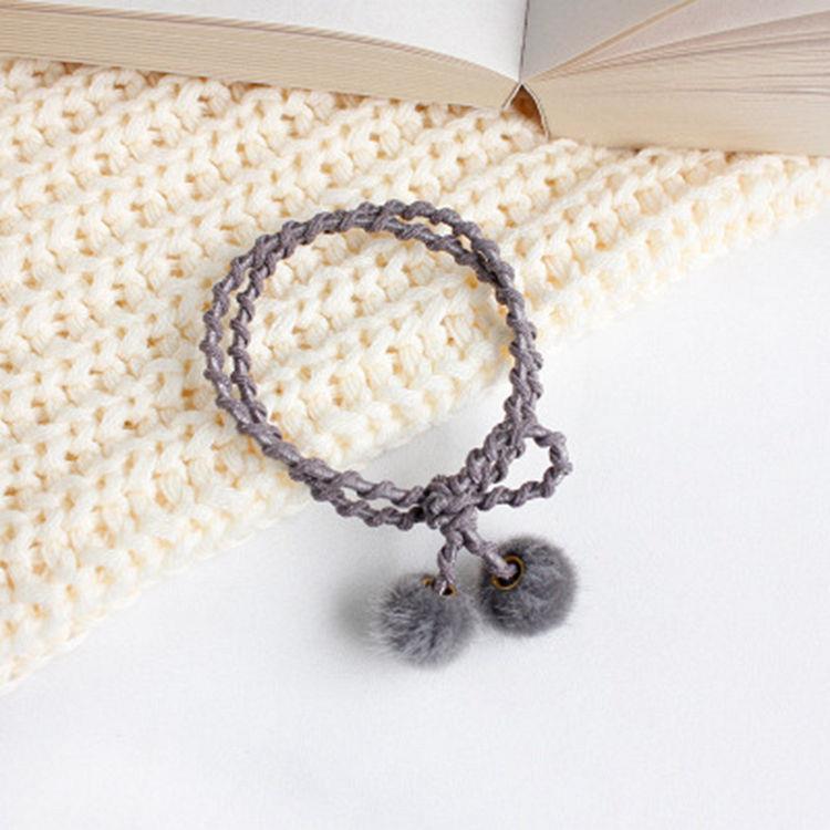 甜美小絨球手繩髮圈-銀灰