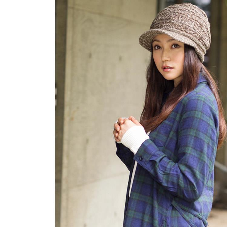 日本(QUEEN-HEAD)抗UV抗寒二重保暖獨特編織針織帽(咖啡/白色)