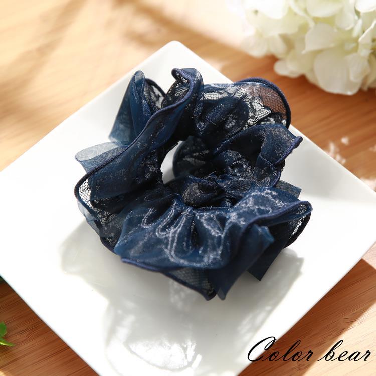 【卡樂熊】優雅蕾絲蝶結滾邊圈束-深藍色