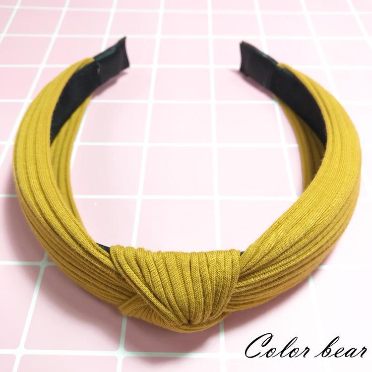 【卡樂熊】韓版氣質針織扭結寬版髮箍-芥黃色