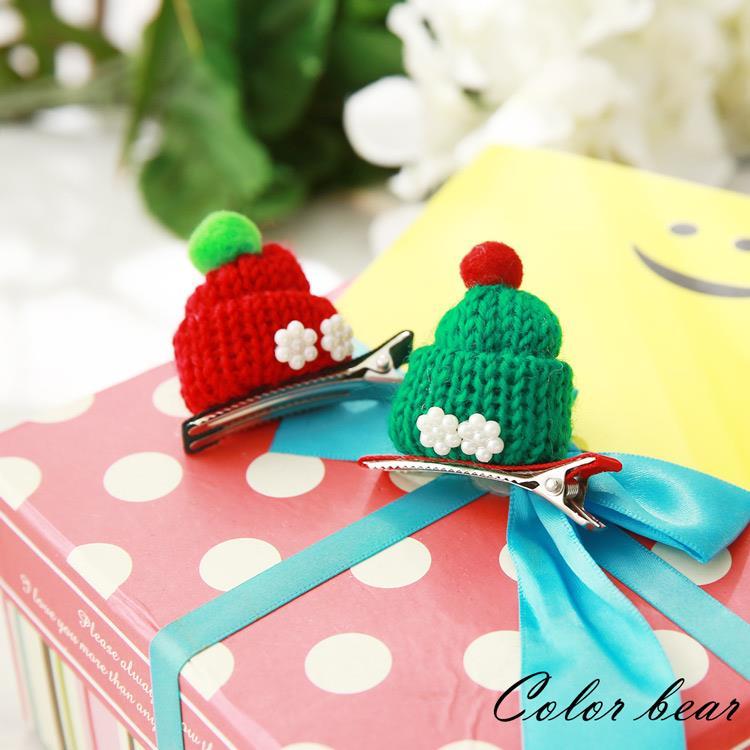 【卡樂熊】繽紛聖誕節帽子造型壓夾兩入組-紅色+綠色
