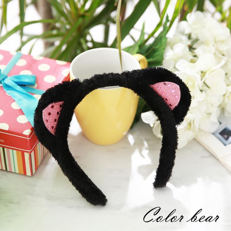 【卡樂熊】萌系閃亮絨毛貓耳造型髮箍-黑色
