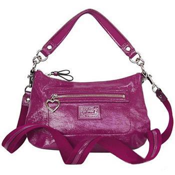 COACH POPPY亮面漆皮彎底肩背/斜背兩用包-紫色(預購+現貨)