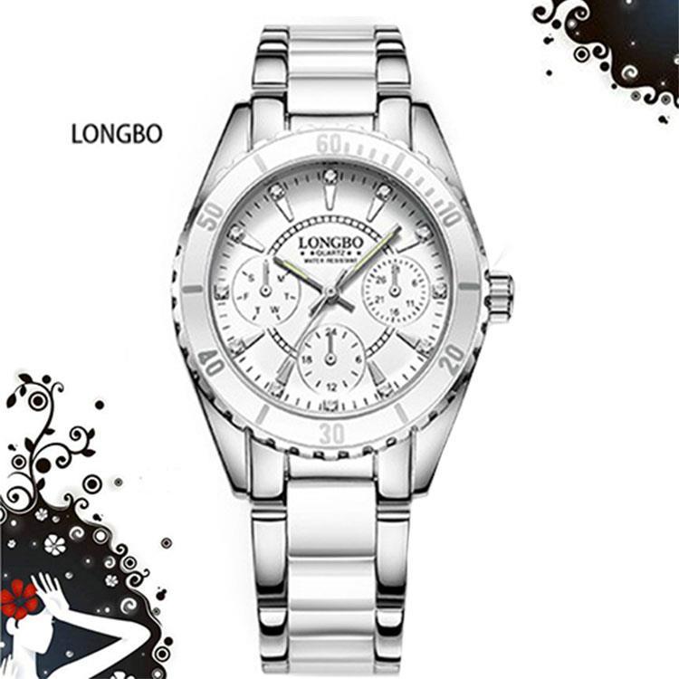 【LONGBO】朗博三眼裝飾夜光晶鑽陶瓷錶-白