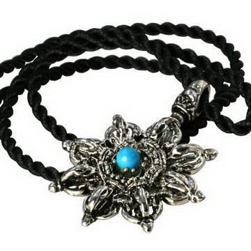 【藏傳佛教文物】古銀轉輪金鋼杵項鍊 吊墜 護身符(PB-N00030)