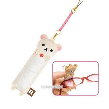 San-X 懶熊毛絨眼鏡擦拭吊飾。懶妹(米)