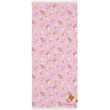San-X 懶熊春季系列針織長毛巾80x34cm。粉小花