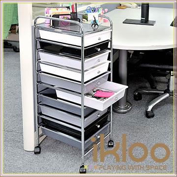 【ikloo】可移式十層黑白尊爵款抽屜收納箱/收納盒