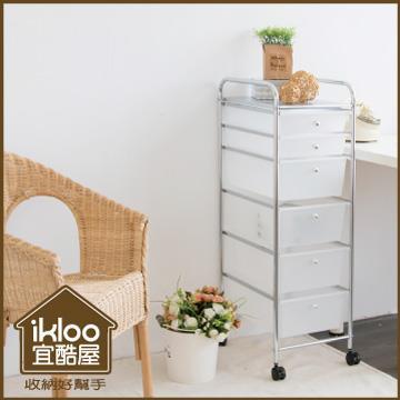 【ikloo】可移式4大2小六層白色抽屜收納箱/收納盒