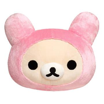 San-X 粉紅兔懶妹毛絨頭型大抱枕45cm
