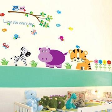 Christine創意組合DIY壁貼/牆貼/兒童教室佈置 動物三劍客(可重複貼)