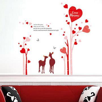 Christine創意組合DIY壁貼/牆貼/兒童教室佈置 愛心小鹿(可重複貼)