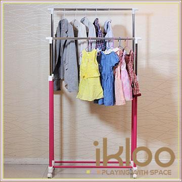 【ikloo】彩漾雙桿升降曬衣架/曬衣桿-櫻花紅