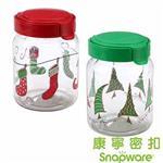 【Snapware 康寧密扣】密封保鮮罐-聖誕系列1.0L (美國製造)2入