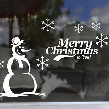 Christine耶誕節慶佈置/牆貼/玻璃貼/ MA001 雪花雪人 (紅色)