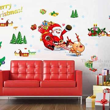 Christine耶誕節慶佈置/牆貼 卡通貼/MD001 麋鹿馬車