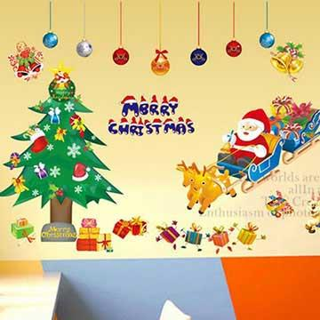 Christine耶誕節慶佈置/牆貼 卡通貼/MD002 禮物雪橇