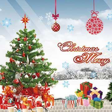 Christine耶誕節慶佈置/牆貼 卡通貼/MD004 禮物樹下