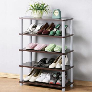 YoStyle 簡約五層開放式鞋架-胡桃