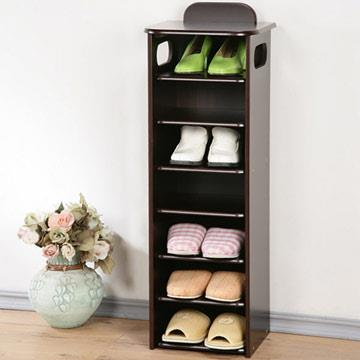 YoStyle 新歐風七層置物鞋櫃-胡桃色