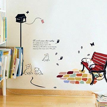 Christine創意組合DIY壁貼/牆貼/兒童教室佈置 小貓公園(可重複貼)