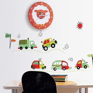 Christine創意組合DIY壁貼/牆貼/兒童教室佈置 車車快跑(可重複貼)
