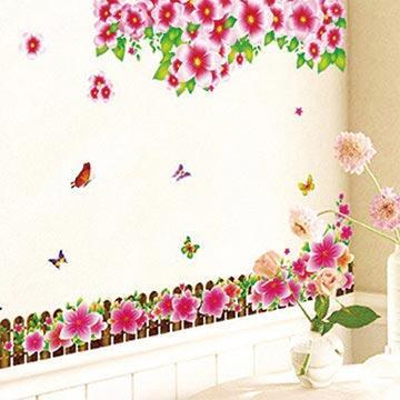 Christine創意組合DIY壁貼/牆貼/兒童教室佈置 紅花圍牆(可重複貼)