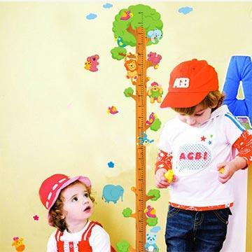 Christine創意組合DIY壁貼/牆貼/兒童教室佈置 動物身高樹(可重複貼)