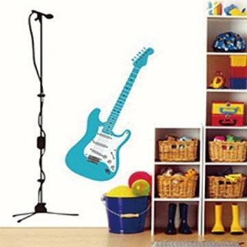 Christine創意組合DIY壁貼/牆貼/兒童教室佈置 搖滾電吉他(可重複貼)