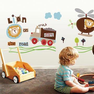 Christine創意組合DIY壁貼/牆貼/兒童教室佈置 獅子冒險王(可重複貼)
