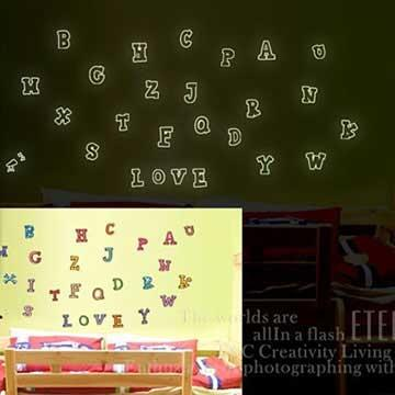Christine創意組合DIY壁貼/牆貼/夜光貼 YG001 ABC樂園
