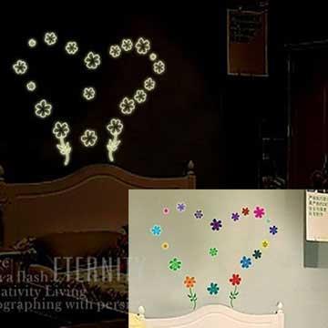 Christine創意組合DIY壁貼/牆貼/夜光貼 YG007 小花朵朵開