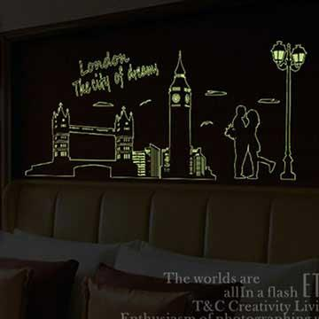 Christine創意組合DIY壁貼/牆貼/夜光貼 YG013 倫敦夜景(大)