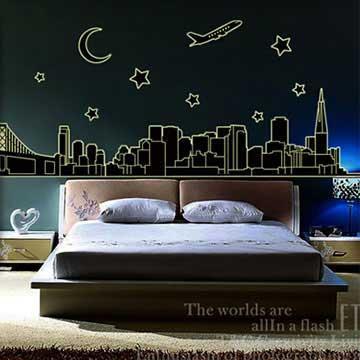 Christine創意組合DIY壁貼/牆貼/夜光貼 YG014 城市夜景(大)