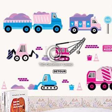 Christine創意組合DIY壁貼/牆貼/兒童教室佈置 工程車(可重複貼)