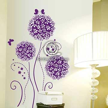 Christine創意組合DIY壁貼/牆貼/兒童教室佈置 紫蝶花球(可重複貼)