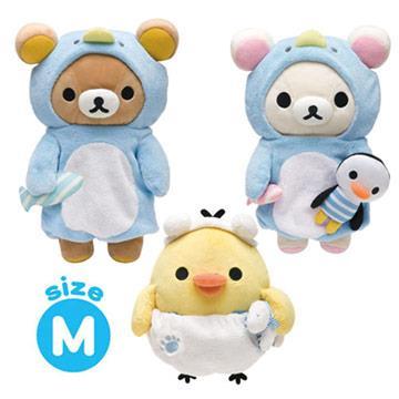 Rilakkuma拉拉熊北極探險企鵝裝扮系列毛絨中公仔(M)。三款可選