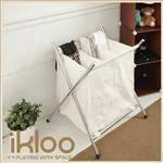 【ikloo】附蓋分類髒衣收納籃/洗衣籃 (三格)