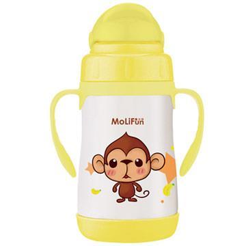 【MoliFun魔力坊】不鏽鋼真空兒童吸管杯/學習杯260ml-俏皮猴