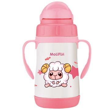 【MoliFun魔力坊】不鏽鋼真空兒童吸管杯/學習杯260ml-寶貝羊