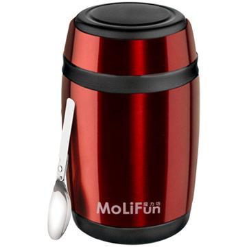 【MoliFun魔力坊】不鏽鋼真空保鮮保溫罐/燜燒罐/食物罐550ml-寶石紅