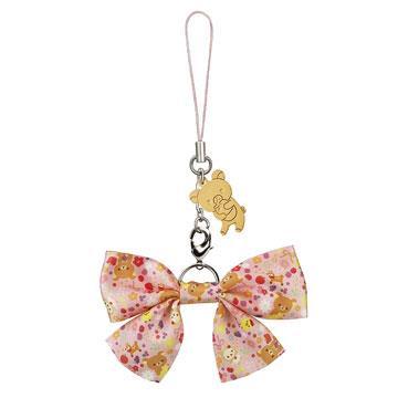 Rilakkuma拉拉熊10周年紀念歡樂時光蝴蝶結吊飾。懶熊(粉紅)