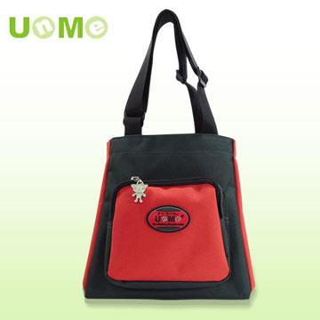 【UnMe】文青輕巧餐袋/黑紅色