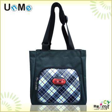 【UnMe】可愛格紋輕巧餐袋/藍格色
