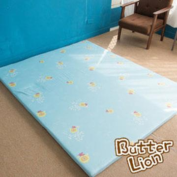 【奶油獅】正版授權-台灣製造-葉語純棉紙纖三合一記憶床墊-單人3尺(水藍)