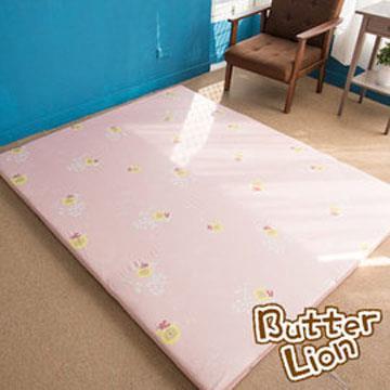 【奶油獅】正版授權-台灣製造-葉語純棉紙纖三合一記憶床墊-單人加大3.5尺(粉紅)