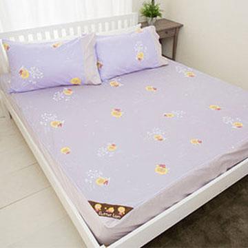 【奶油獅】怡情葉語系列-台灣製造-100%精梳純棉床包二件組(幻紫)-單人3.5尺